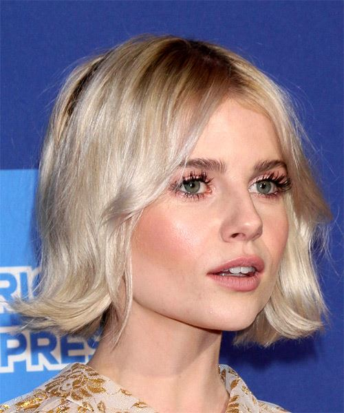 Lucy Boynton Medium Straight   Light Blonde Bob  Haircut with Layered Bangs  - Side on View