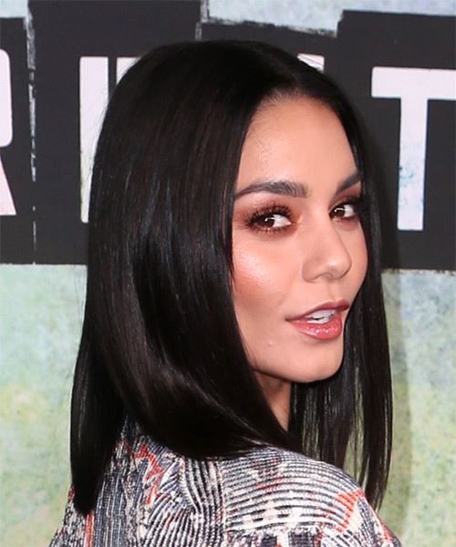 Vanessa Hudgens Medium Straight   Black  Bob  Haircut   - Side on View