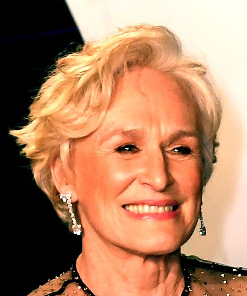 Glenn Close Short Wavy Casual  Bob  Hairstyle with Side Swept Bangs  - Light Blonde Hair Color - Side on View