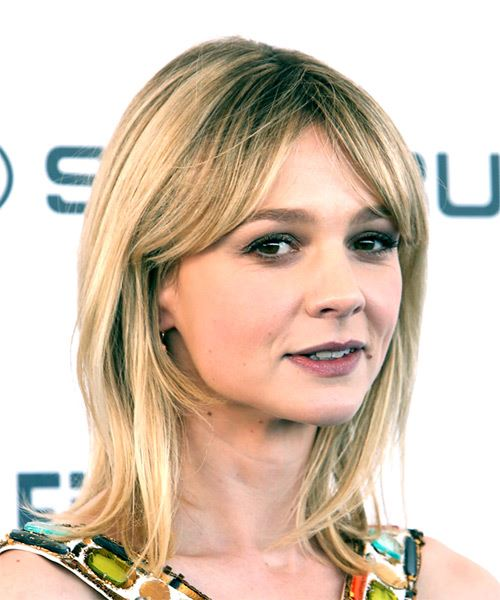 Carey Mulligan Medium Straight Casual  Bob  Hairstyle   -  Blonde and Light Blonde Two-Tone Hair Color - Side on View