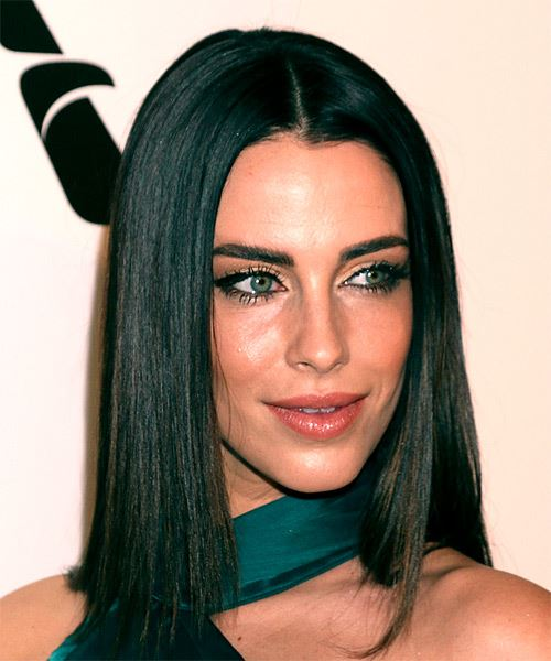 Jessica Lowndes Medium Straight   Black  Bob  Haircut with Blunt Cut Bangs  - Side on View