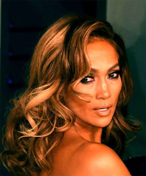 Jennifer Lopez Long Wavy Layered   Brunette and Copper Two-Tone Bob  Haircut with Side Swept Bangs  and  Blonde Highlights - Side on View