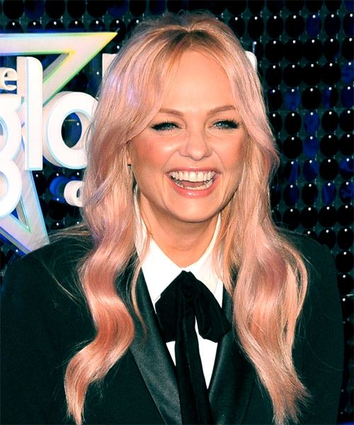 Emma Bunton Long Wavy Casual    Hairstyle with Layered Bangs  - Pink  Hair Color - Side on View