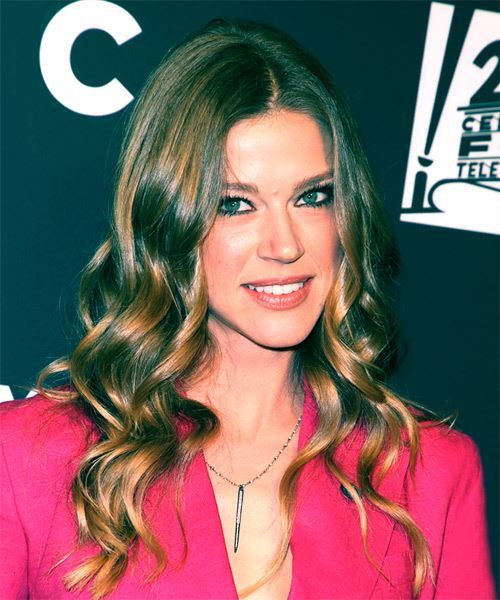 Adrianne Palicki Long Wavy    Brunette and  Blonde Two-Tone   Hairstyle   - Side on View