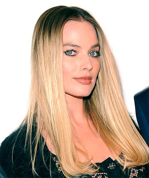 Margot Robbie Long Straight Formal    Hairstyle with Side Swept Bangs  - Dark Brunette and  Blonde Two-Tone Hair Color - Side on View