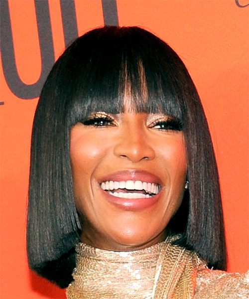 Naomi Campbell Medium Straight Formal  Bob  Hairstyle with Blunt Cut Bangs  - Black  Hair Color - Side on View