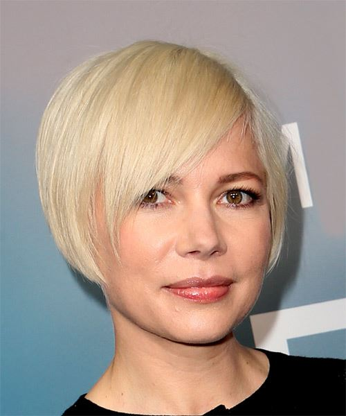 Michelle Williams Short Straight Casual  Pixie  Hairstyle with Blunt Cut Bangs  - Light Blonde Hair Color - Side on View