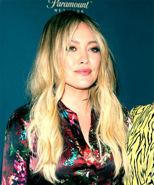 Hilary Duff Long Wavy Casual    Hairstyle   -  Brunette and Light Blonde Two-Tone Hair Color - Side on View