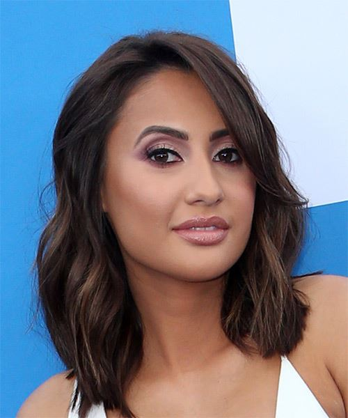 Francia Raisa Medium Wavy   Black  Bob  Haircut with Blunt Cut Bangs  - Side on View