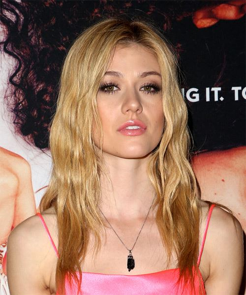 Katherine McNamara Long Wavy Casual    Hairstyle with Side Swept Bangs  -  Blonde Hair Color - Side on View
