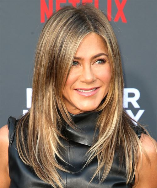 Jennifer Aniston Long Straight    Brunette   Hairstyle with Side Swept Bangs  and Light Blonde Highlights - Side on View