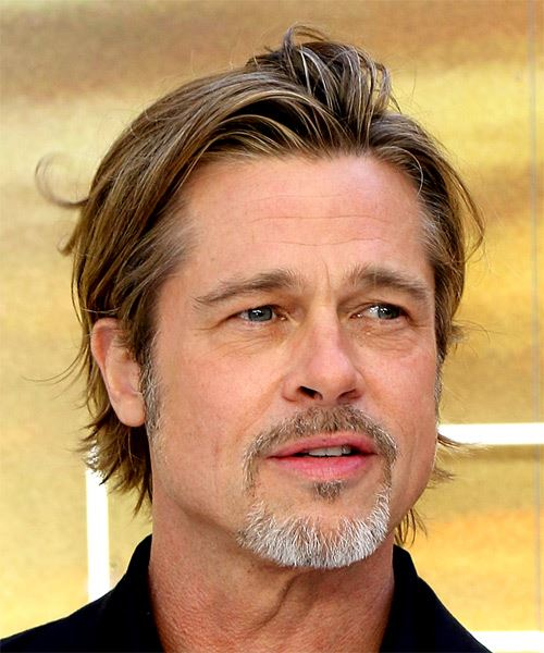 Brad Pitt Short Straight    Copper Brunette   Hairstyle with Layered Bangs  - Side on View