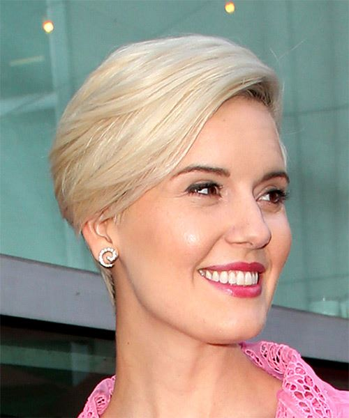 Maggie Grace     Light Grey Pixie  Cut with Side Swept Bangs  - Side on View