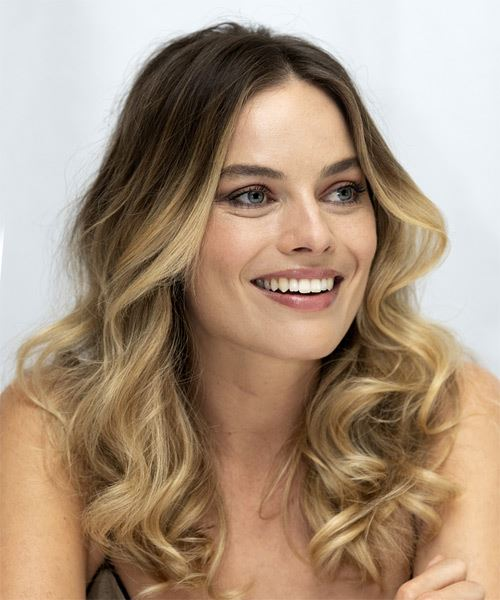 Margot Robbie Long Wavy    Brunette and  Blonde Two-Tone   Hairstyle with Layered Bangs  - Side on View