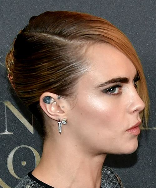 Cara Delevingne Short Straight    Blonde Asymmetrical Updo  with Blunt Cut Bangs  and Light Brunette Highlights - Side on View