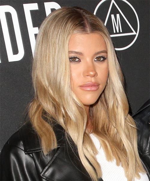 Sofia Richie Long Straight   Light Blonde   Hairstyle with Side Swept Bangs  and  Blonde Highlights - Side on View