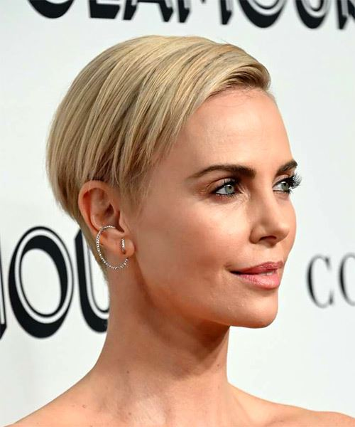 Charlize Theron      Blonde Pixie  Cut with Side Swept Bangs  - Side on View