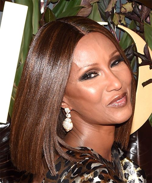 Iman Medium Straight   Dark Copper Brunette Bob  Haircut with Blunt Cut Bangs  - Side on View