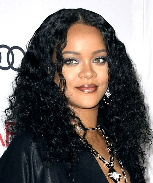 Rihanna Long Curly   Black    Hairstyle with Layered Bangs  - Side on View