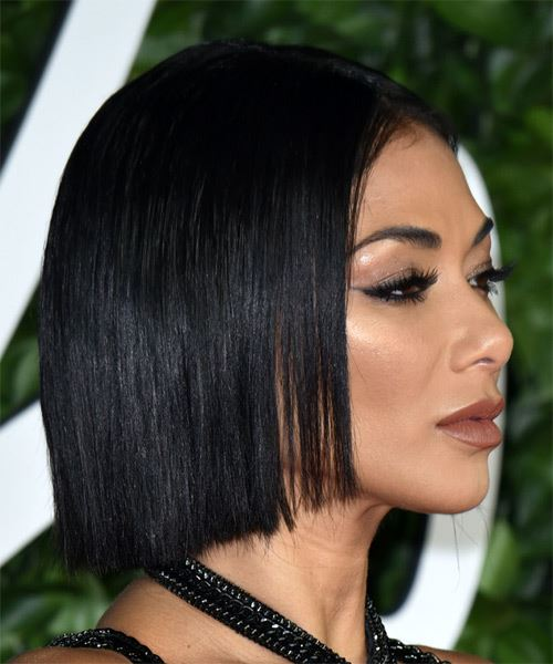 Nicole Scherzinger Short Straight   Black  Bob  Haircut with Blunt Cut Bangs  - Side on View