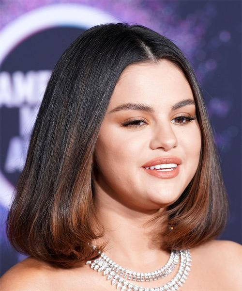 Selena Gomez Medium Straight   Dark Copper Brunette Bob  Haircut with Blunt Cut Bangs  - Side on View