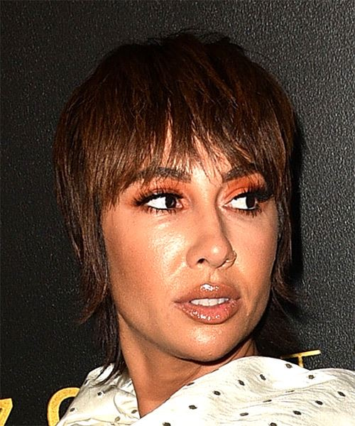 Jackie Cruz Short Straight   Dark Chocolate Brunette Bob  Haircut with Blunt Cut Bangs  - Side on View