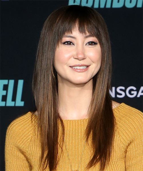 Kimiko Glenn Long Straight   Black    Hairstyle with Blunt Cut Bangs  - Side on View