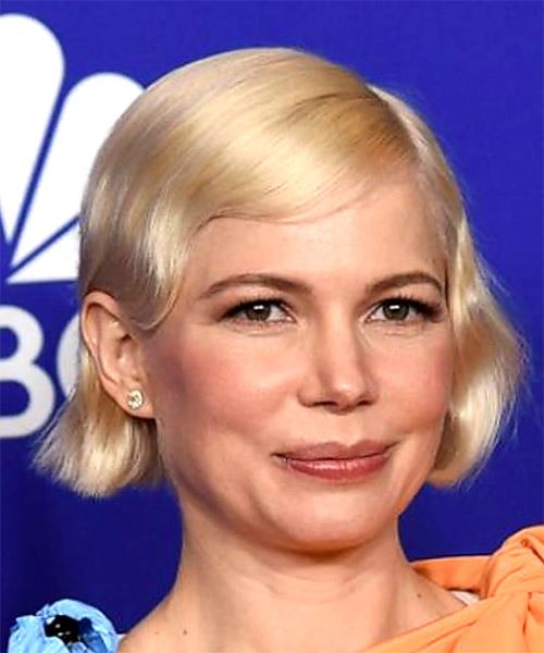 Michelle Williams     Light Golden Grey Pixie  Cut with Side Swept Bangs  - Side on View
