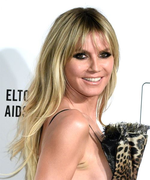 Heidi Klum Long Straight    Caramel Blonde   Hairstyle with Blunt Cut Bangs  - Side on View
