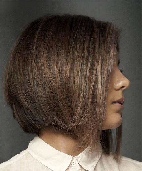 Short Straight   Dark Brunette Bob  Haircut with Blunt Cut Bangs  and  Brunette Highlights - Side on View