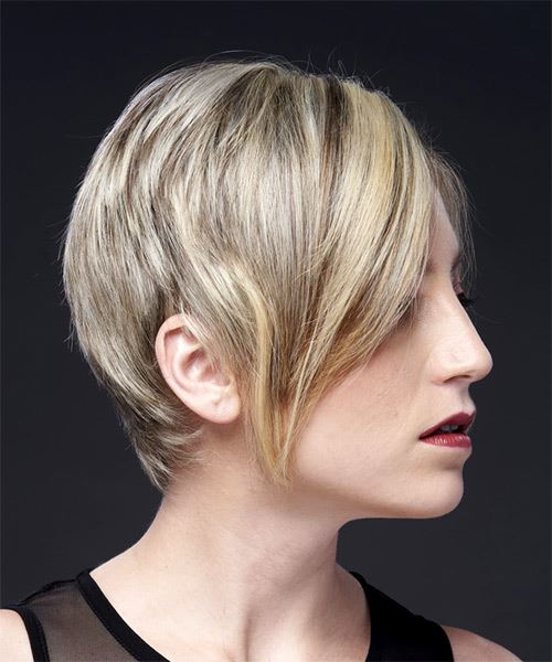 Light Blonde Pixie  Cut with Side Swept Bangs  and Light Brunette Highlights - Side on View