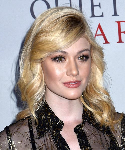 Katherine McNamara Long Wavy    Blonde   Hairstyle with Side Swept Bangs  and Light Blonde Highlights - Side on View