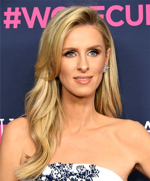 Nicky Hilton Long Straight    Blonde   Hairstyle with Side Swept Bangs  and Light Blonde Highlights - Side on View