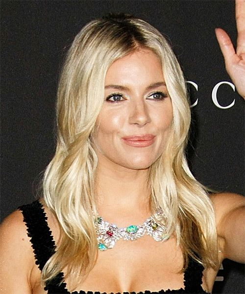 Sienna Miller Long Straight    Blonde   Hairstyle   with Light Blonde Highlights - Side on View