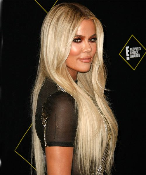 Khloe Kardashian Long Straight    Blonde   Hairstyle   - Side on View