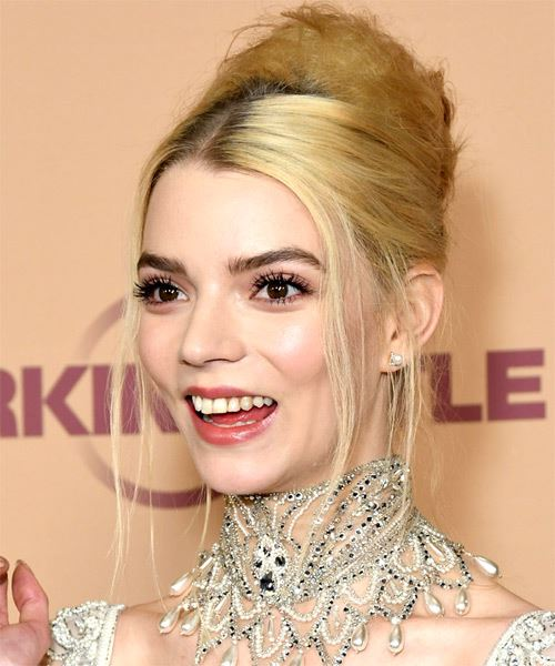 Anya Taylor Joy Long Straight   Light Blonde  Updo    - Side on View