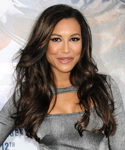 Naya Rivera Long Wavy   Black    Hairstyle with Layered Bangs  - Side on View