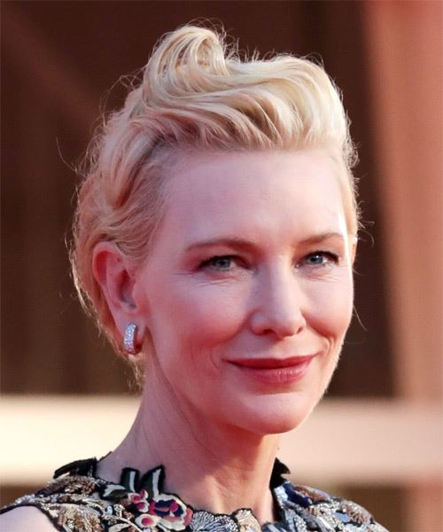 Cate Blanchett Medium Straight   Light Blonde Asymmetrical Updo    - Side on View