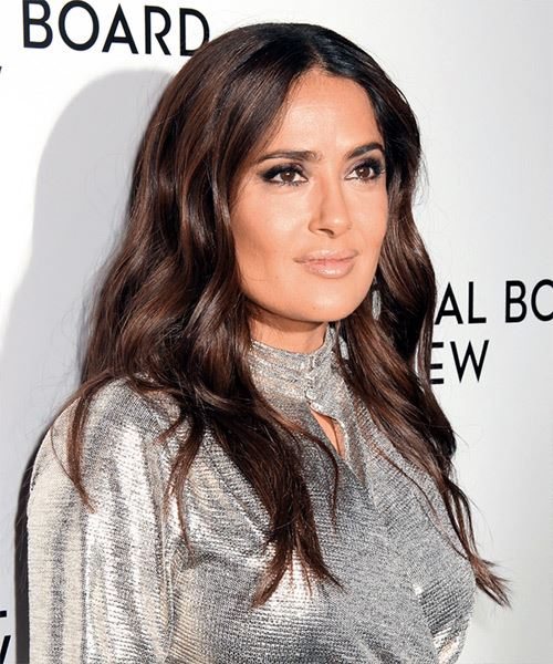 Salma Hayek Long Wavy   Black    Hairstyle   - Side on View