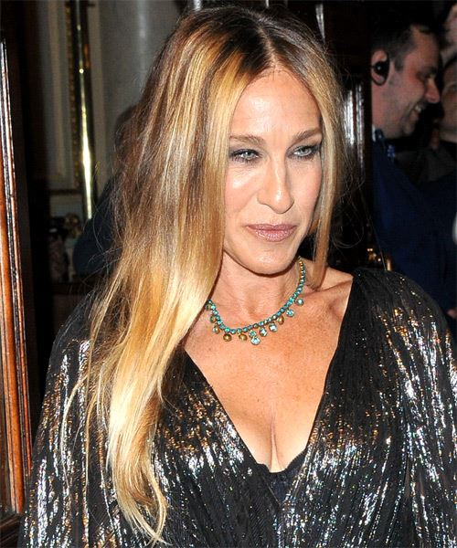 Sarah Jessica Parker Long Straight    Brunette   Hairstyle   with Light Blonde Highlights - Side on View