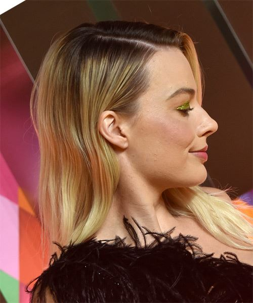 Margot Robbie Long Straight Layered  Light Blonde Bob  Haircut with Side Swept Bangs  - Side on View