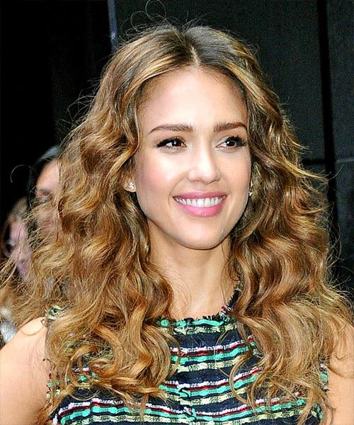 Jessica Alba Long Wavy    Brunette   Hairstyle   with Light Brunette Highlights - Side on View