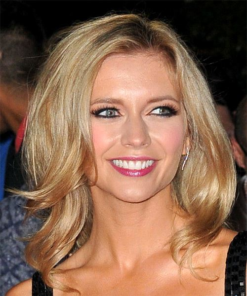 Rachel Riley Long Straight   Light Copper Blonde   Hairstyle with Side Swept Bangs  - Side on View