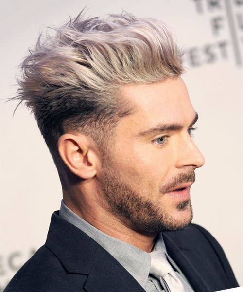 Zac Efron Short Straight   Light Blonde and Black Two-Tone   Hairstyle   - Side on View