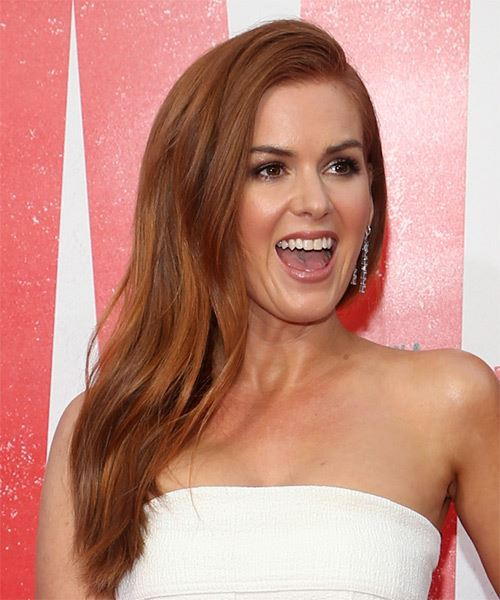 Isla Fisher Long Straight    Red   Hairstyle with Side Swept Bangs  and Light Red Highlights - Side on View