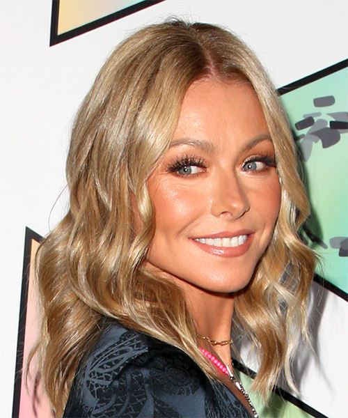 Kelly Ripa Medium Wavy    Blonde   Hairstyle   - Side on View