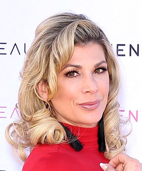 Alexis Bellino Medium Curly   Light Brunette   Hairstyle with Side Swept Bangs  and Light Blonde Highlights - Side on View