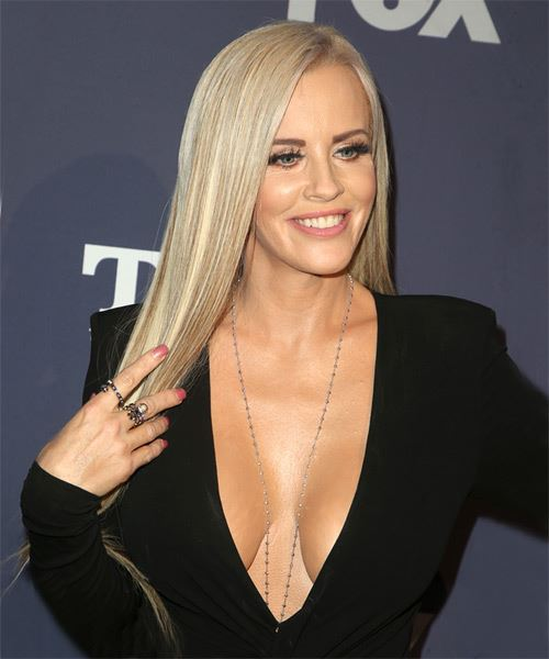 Jenny McCarthy Long Straight    Blonde   Hairstyle with Side Swept Bangs  and Light Blonde Highlights - Side on View