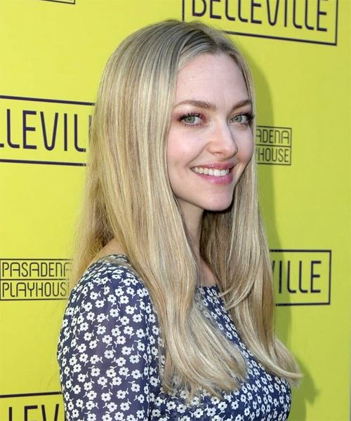 Amanda Seyfried Long Straight    Blonde   Hairstyle   with Light Blonde Highlights - Side on View