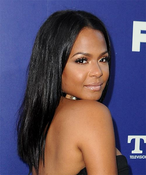 Christina Milian Long Straight   Black  Asymmetrical  Hairstyle with Blunt Cut Bangs  - Side on View